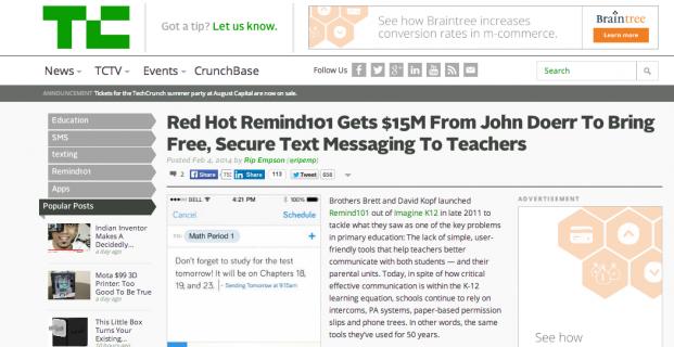Remind101 featured in TechCrunch