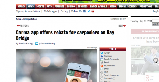 SF Examiner covers Carma