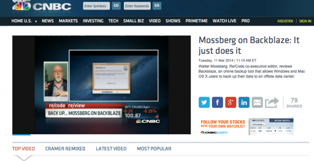 Walt Mossberg reviews Blackblaze on CNBC