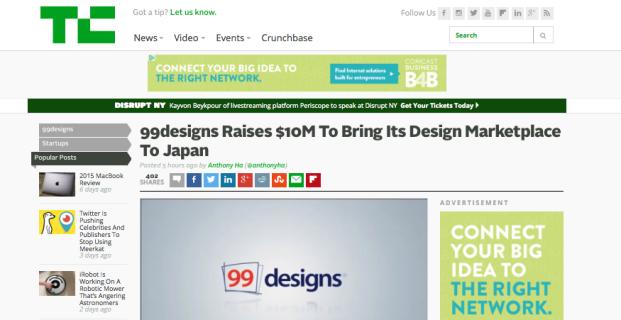 TechCrunch covers 99designs