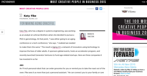 Aging2.0's Katy Fike recognized in Fast Company
