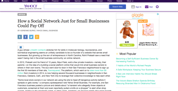 Townsquared featured in Yahoo Small Business
