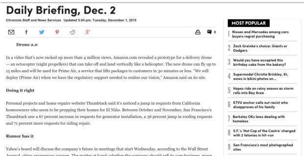 Thumbtack in SF Chronicle
