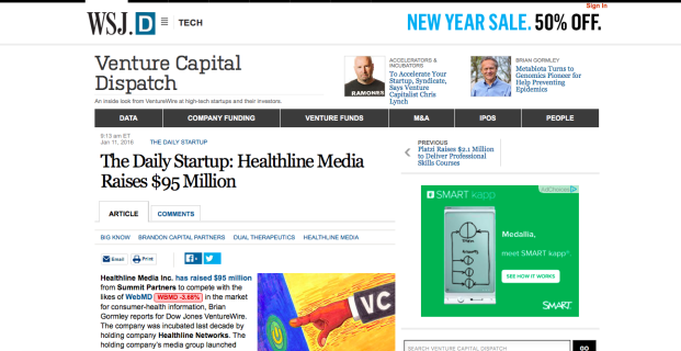 Healthline in Wall Street Journal