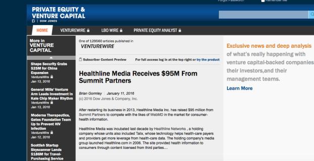 Healthline in Dow Jones Venturewire