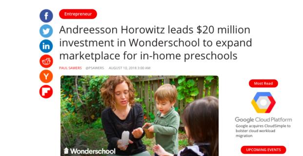 Wonderschool in VentureBeat